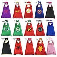 15 styles one- layer Superhero Cape with Mask for kids 70*70c...