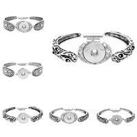 Noosa topakları 18mm DIY Noosa Zencefil çekin Düğmeler Bilezik Takı Kadınlar Moda Vintage Gümüş Çiçek Değiştirilebilir Charms Bilezik Bileklik