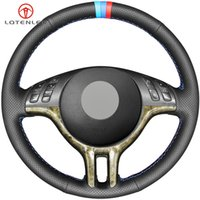 Черная натуральная кожа крышка рулевого колеса автомобиля для BMW 3 серии E46 2000-2006 5 серии E39 2000-2003 E53 X5 Z3 E36 2000