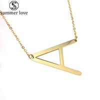 Edelstahl Halskette Initial 26 Brief-Gold überzogene Charme-Anhänger Paar Namenskette Freunde Liebhaber-Geschenk Großhandels-Z