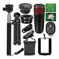 10 1 Evrensel Telefon Kamera 12X Zoom Lens İçin Akıllı Telefon Telefoto Lens geniş açılı bir balıkgözü Makro Tripod