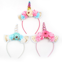 New Baby Unicorno Corno Bastoni per capelli Kids Girls Tulle Bunny copricapo per Party Girls Cosplay Accessori per capelli Flower Hair Clasp