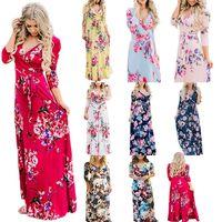 Boho floral imprimé maxi robe femmes été été femmes bohemia col v-cou bodycon robes de plage robe de soirée vêtements élégantes robes élégantes LJJA3771-13