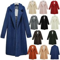 Женщины зима шерсть ягненка длинное пальто накидки теплый искусственный мех плюшевые куртка куртки пр пальто свободные повседневная windbraker верхняя одежда плюс размер одежды