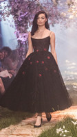 Paolo Sebastian Formal Dresses Party Evening Black Spaghetti Sequin Prom Dress Sexy Ankle Length A Line Party Gowns