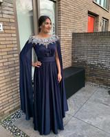 2020 Arabisch ASO EBI Spitze Perlen Billig Abendkleider Chiffon Lange Ärmel Prom Kleider A-Line Formale Party Zweiter Empfangskleid