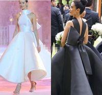 2020 Son Saten Balsown Gelinlik Modelleri Yüksek Boyun Siyah Beyaz Büyük Yay Dalma Ayak Bileği Uzunluğu Custom Made Akşam elbise Örgün Durum Giyim