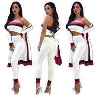 Monos de mujer Mamemos 2021 Mujeres Diseño elegante 3 pieza Set 1 Outwear de X-Larga 2 juegos de bodycon sin tirantes y pantalones largos
