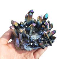 200-250g Colore Multiplo Unico Aura Bismuto Titanio Cristallo Di Quarzo Cluster Drusy Specimen Big Angel Aura Cluster Decorazione Della Casa