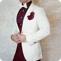 Latest Coat Pants Designs Ivory Men Suits for Wedding Prom S...