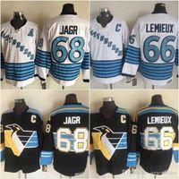66 Mario Lemieux 68 Jaromir Jagr 66 Mario Lemieux الفانيلة الأسود أعلى جودة الهوكي الجليد الفانيلة 100٪ مخيط شحن مجاني
