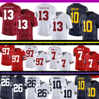Alabama Crimson Tide 13 Tua Tagovailoa Jersey para hombre de Michigan Wolverines 10 Tom Brady universitarios ventas fútbol jerseys baratos