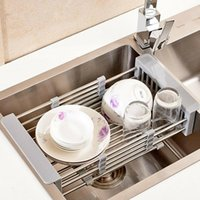 Aço inoxidável de secagem Cavalete Sink Escorra Basket Home Kitchen Supplies MF999