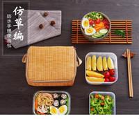 Imitação Rattan Trançado Portátil Lona Isolada Almoço Saco Térmica Comida Piquenique Sacos de Almoço Lunch Box Tote # 96