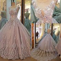 Реальные изображения Jewel шеи Appliqued Кружева 3D Цветочные платья Quinceanera 2019 зашнуровать Backless Плюс Размер Сладкие 16 Вечерние платья 2021 BC2149