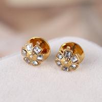 Moda-elmas 0.9cm 18k altın ve 18k gül altın kaplama tarzı kadınlar en kaliteli takı hediye fr içinde Küpe damla damızlık