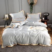 2020 홈 섬유 골든 새틴 실크 침구 세트 자수 침대 세트 이불 커버 시트 평면 또는 장착 침대 시트 퀸 왕 림