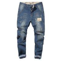 Sokotoo Erkekler Artı boyutu Patchwork Denim Harem Jeans Ripped Stretch Pantolon Siyah Mavi Büyük boy 48 Cepler