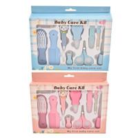 10 unids / set kit de cuidado de uñas neonatal 10 conjuntos de aspirador Peine Peine Tijeras Cepillo y polaco Baby Tijeras de uñas Baby Heathy Care Set M294