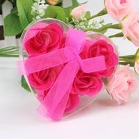 3pcs caja en forma de corazón para llevar hecho a mano Rose Petal Jabón Jabón Flor de papel Flor de simulación (3pcs = 1box) los regalos de San Valentín de la fiesta de cumpleaños Día F6E