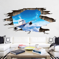 Creative Broken 3D Effect Airplane Living room Bedroom Floor...