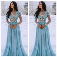 2020 Sheer Long Sleeves Pearls Apliques de encaje con cuentas Vestidos de baile con flores 3D Adornado Mujeres Evning Vestidos de fiesta Tallas grandes Vestidos