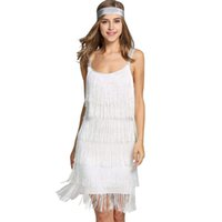 mini abito bianco Donna Nappe Cinghie Abito Gatsby Cocktail Party Flapper con frange Costume Dress