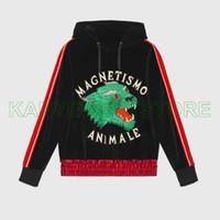 ropa de lujo diseñador de moda para hombre Italia MACNETISMO ANIMAL lobo seda a rayas manga de terciopelo con capucha sudadera