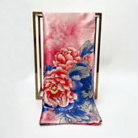 Nueva moda de primavera Sra nuevas flores de peonía albaricoque bufandas de sarga de seda al por mayor diseñador Plaza 90cm mujer Pañuelos Mujer chal Pintura