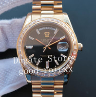 Saatler Erkekler Otomatik Cal.3255 ETA İzle erkek EW Taç Gün Tarihi 228345 RBR Siyah Altın Kahverengi Elmas Gül Gold Başkanı Saatı
