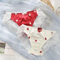 سراويل نسائية مثير الرباط الساتان جميلة الفتيات النساء nymphet culottes شفافة الإناث الملابس الداخلية لطيف الحليب الحرير اليابان الملابس الداخلية