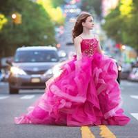 멋진 자홍색 볼 가운 소녀 비즈 드레스와 미인 대회 크리스탈 작은 소녀 꽃의 소녀 드레스 아이의 파티 생일 성찬 드레스
