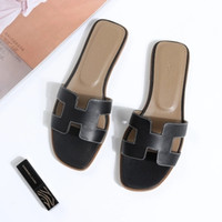 Designer Slideshow Fashion Summer Sandals Womens  Brands Slippers Genuine Leather Shoes  Women fashiona