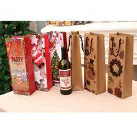 2 styles de sac à vin rouge de Noël sac de papier kraft sac à main anniversaire cadeau cadeau gilet-cadeau emballage xD22649