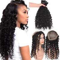 Brazilian Human Hair Bundles With 360 Full Lace Closure Deep...