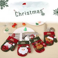 Noel Yemeği Setleri Hediye Çanta Nnon-dokuma Makaleler Yemek Odası Masa Süslemeleri Bıçak Çatal Setleri Noel Eldiven 9 * 14 cm Dekorasyon