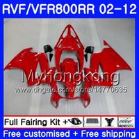 Karosserie für HONDA Interceptor VFR800RR 02 03 04 05 06 07 258HM.24 VFR 800R 800RR VFR800 RR ALL Glanzrot 2002 2003 2004 2005 2006 2007 Verkleidung