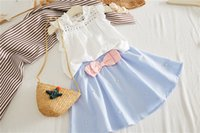 Estate Kid Baby Girl Ruffle Neck Camicia senza maniche Camicetta Top + Bowknot Tutu Mini gonna Dress 2 pezzi Vestiti