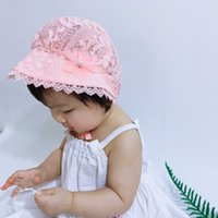 Summer Cute Princess Baby Hat With Bow Solid Color Lace Holl...