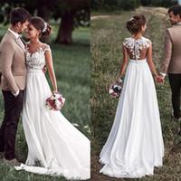 SoDigne Beach - Robe de mariée avec appliqués de dentelle - Manches longues fendues boutons latéraux - Robe de mariée blanche / ivoire 2019