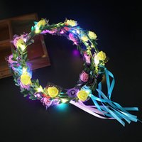 LED Glow Flower Crown Colorful Luminous Rose Flower Headband...