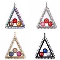 Triangle 8mm Beads Pearl Cage -Color Geometry Magnetic Floating Floating Locket Pendenti con strass Charms aperti