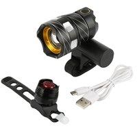 جديد T6 LED الدراجة الخفيفة USB شحن أضواء ماء سلامة الجبهة الخلفية الجمع بين الأسود روبي الضوء الخلفي fahrrad الضوء