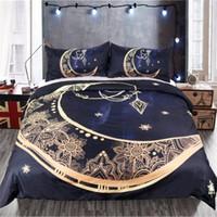 3D Impresso Bedding Sets 3 Supplies Pcs ouro lua pingente Duvet Cover fronha de cama Em armazém