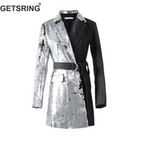 GETSRING Donna Blazer Paillettes Spliced ​​Womens Blazer Manica lunga Irregolare Giacche lunghe Lace Up Ladies Blazer Suit Coat 2019