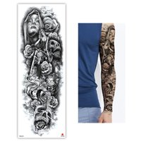 Sexy lange voller Arm Rose Clock Temporary Tattoos für Männer Frauen Tatoo Körperbein Art Make-up Großer Tiger Blumen Fake Tattoo-Aufkleber