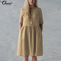 Celmia Women Vintage Cotton Linen Dress 2019 Summer Women Sh...