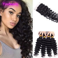 Malaysian Jungfrau Menschliches Haar 3 Bündel mit 4x4 Schließung Deep Wave Hair FEFTS mit 4 von 4 Spitzenverschluss mit Babyhaar Yirubeauty