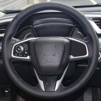 Siyah Doğal Deri Araba Direksiyon Simidi Kapağı Honda Civic Civic 10 2016 2017 CRV CR-V 2017
