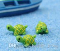 Artificiali Carino Green Tortoise Animali Fairy Garden Miniature Gnomi Moss terrario dei mestieri della resina statuine per decorazione del giardino 668